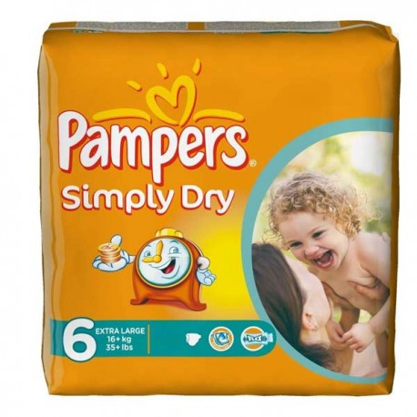 62 couches pampers simply dry taille 6 en promotion sur couches center - Couches pampers naissance ...