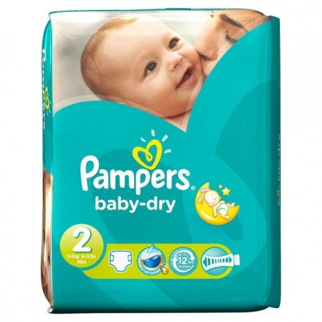 42 Couches Pampers Baby Dry Taille 2 à Bas Prix Sur Couches Center